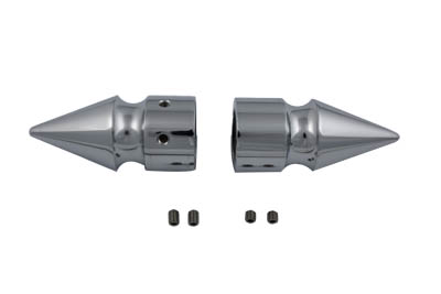 V-Twin 2263-2 - Chrome Front Axle Cover Set Pike Style