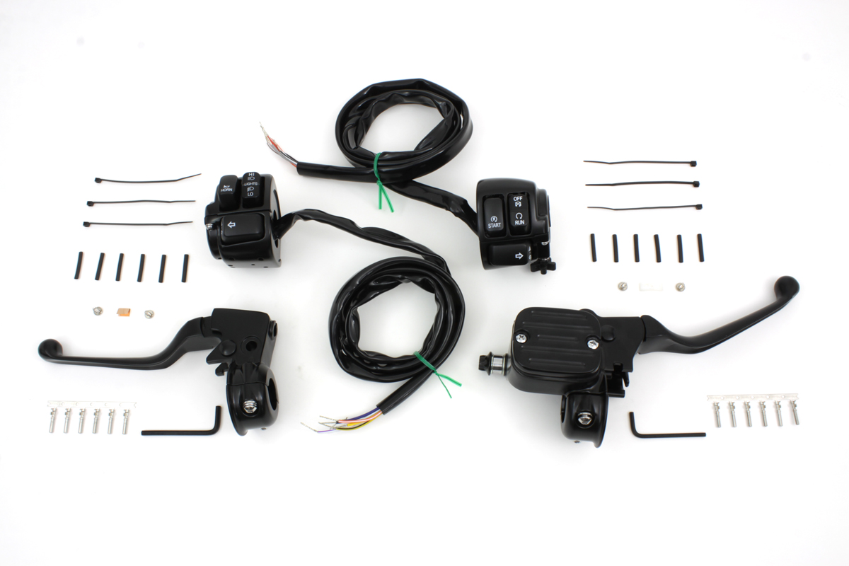 V-Twin 22-1167 - Handlebar Control Kit with Switches Black