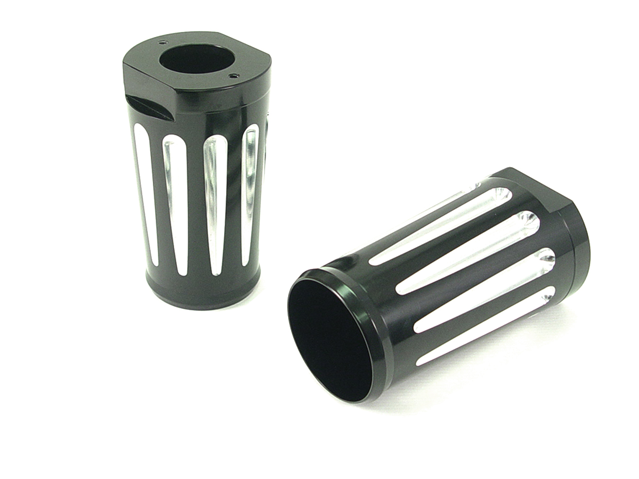 V-Twin 24-1173 - Black Fork Slider Cover Set with Chrome Strip
