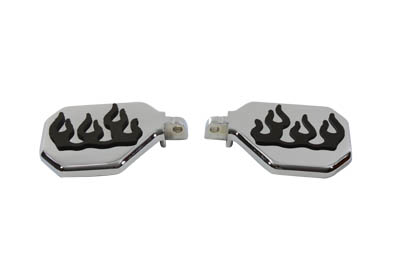 V-Twin 27-0883 - Passenger Mini Footboard Set with Flame Design
