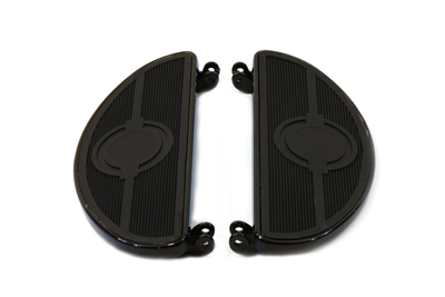 V-Twin 27-0907 - Driver Black Footboard Set with Bulls Eye Desig