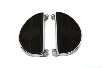 V-Twin 27-0908 - Driver Chrome Footboard Set with Half Moon Shap