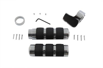 V-Twin 28-0001 - Chrome Banded Handlebar Grip Set