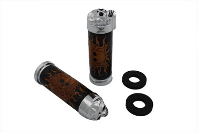 V-Twin 28-0144 - Skull Design Handlebar Grip Set
