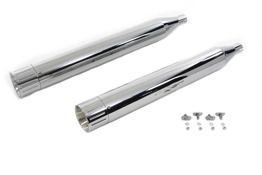 V-Twin 30-4046 - Muffler Set with Chrome Ball Milled End Tips