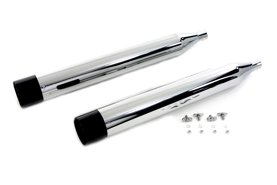 V-Twin 30-4095 - Chrome Muffler Set with Black Gun Barrel End Ti