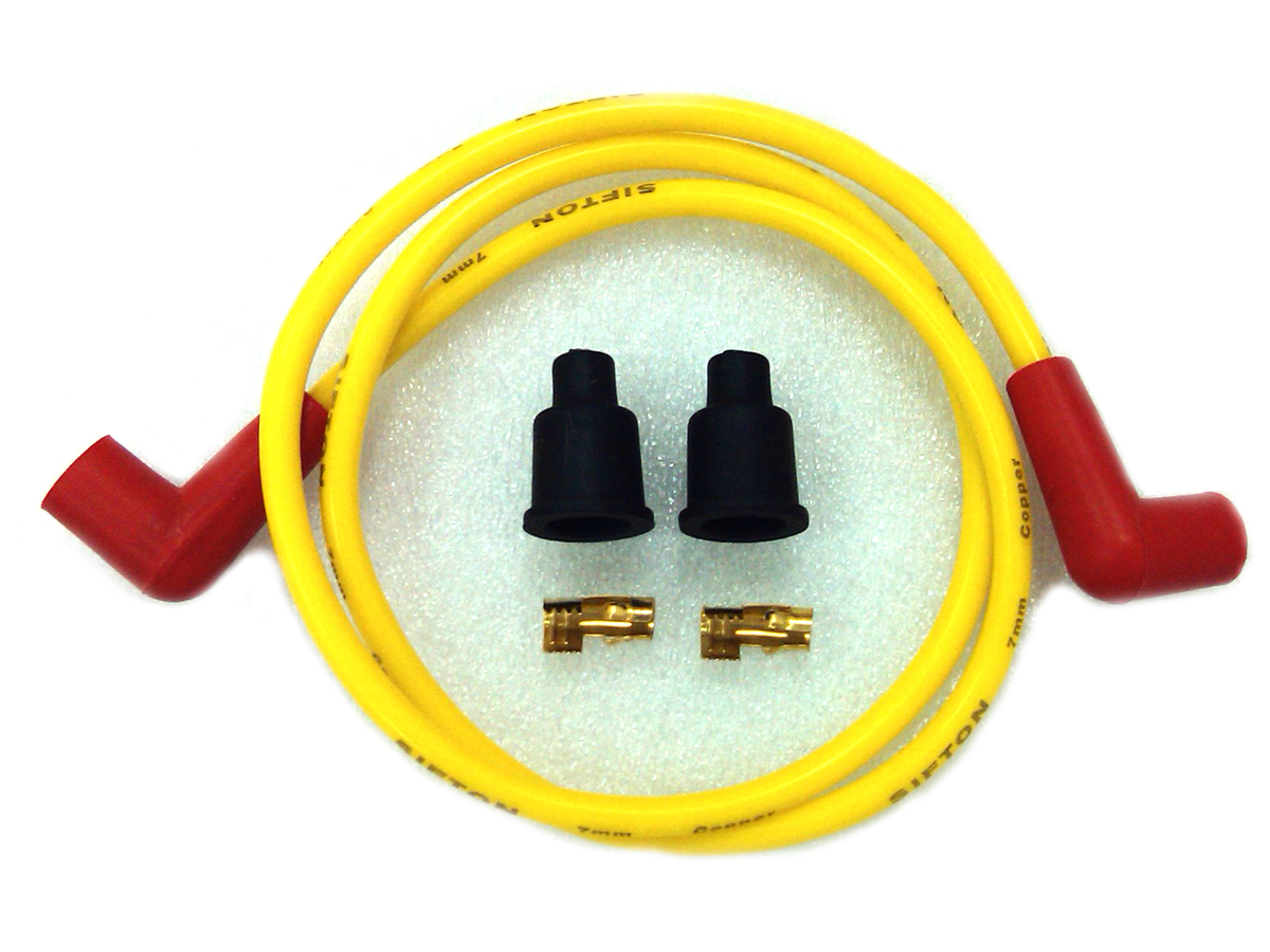 V-Twin 32-0648 - Yellow Copper Core 7mm Spark Plug Wire Kit