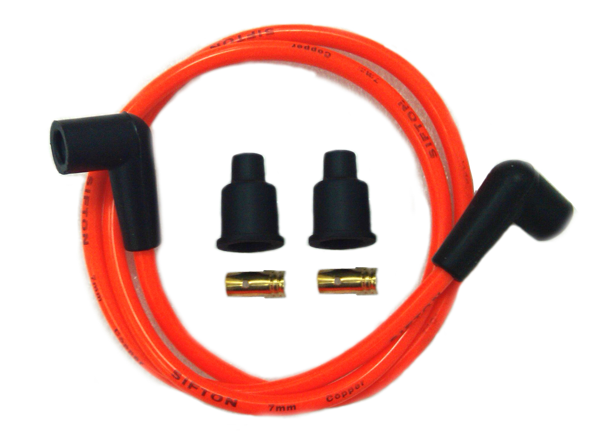 V-Twin 32-0650 - Orange Copper Core 7mm Spark Plug Wire Kit