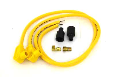 V-Twin 32-6481 - Universal Yellow 8mm Pro Spark Plug Wire Kit
