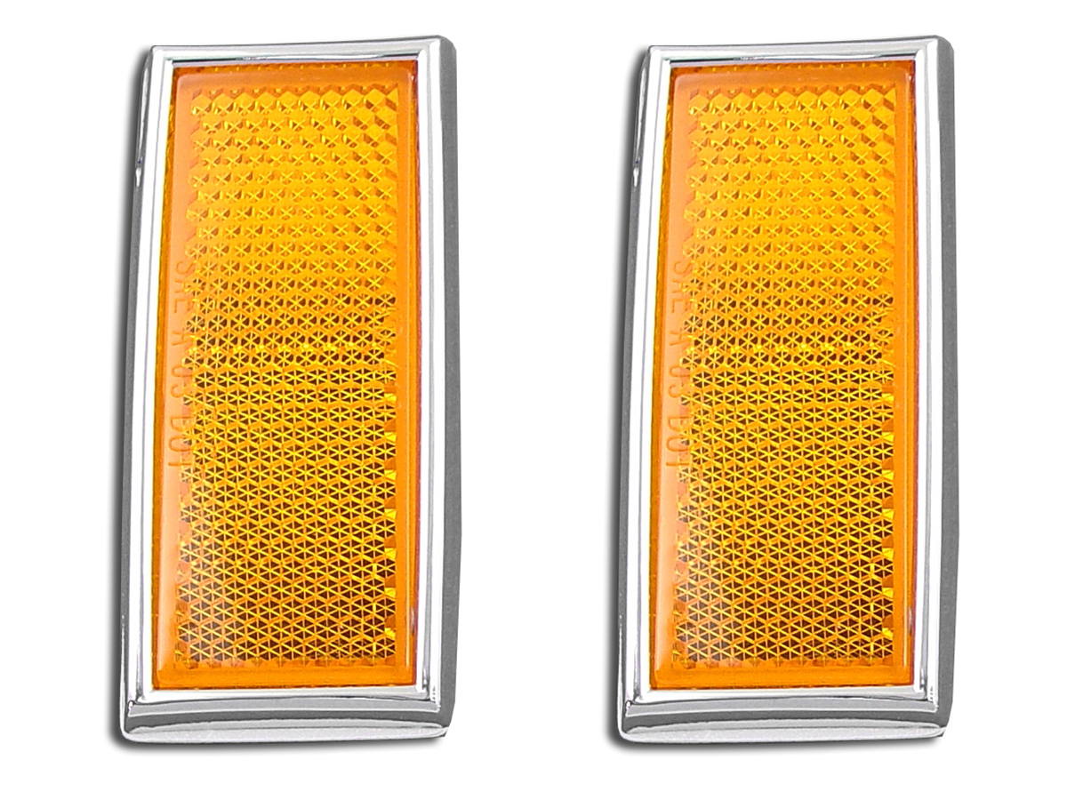 V-Twin 33-0033 - Front Amber Reflector Set With Chrome Frame