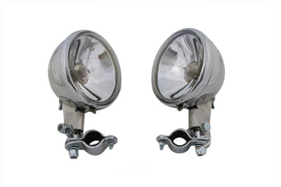 V-Twin 33-0038 - Replica Chrome Spotlamp Set 6 Volt