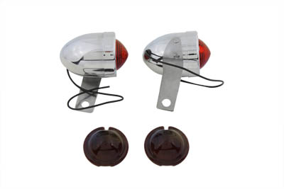 V-Twin 33-0145 - Chrome Bullet Marker Lamp Set with Red Lens