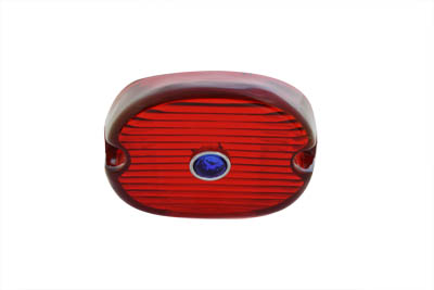 V-Twin 33-0248 - Tail Lamp Lens Laydown Style Red with Blue Dot