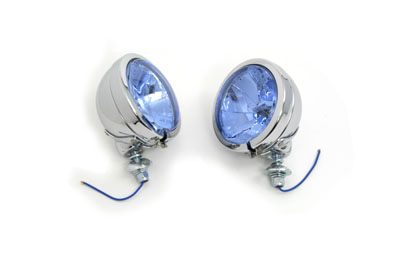 V-Twin 33-0278 - H-3 Spotlamp Set with Blue Lens