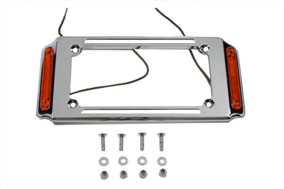 V-Twin 33-0323 - License Plate Frame Chrome with Side Lights