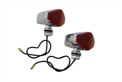 V-Twin 33-0422 - Chrome Diamond Style Red Marker Lamp Set