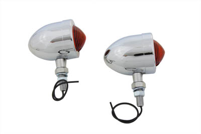 V-Twin 33-0424 - Chrome Red Marker Lamp Set With Single Stem