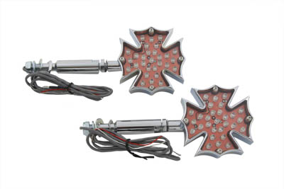 V-Twin 33-0484 - Fireman Cross Turn Signal Set Long Stud