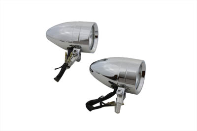 V-Twin 33-0580 - Chrome Torpedo Marker Lamp Set with Clear Lens