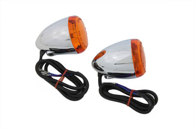 V-Twin 33-0592 - Chrome Torpedo Style Rear Turn Signal Set