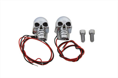 "V-Twin 33-0626 - 2"" Chrome Skull Marker Lamp with Red LED"