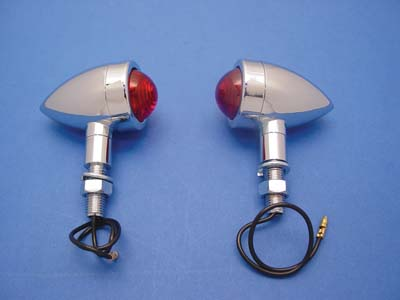 V-Twin 33-0629 - Mini Bullet Marker Lamp Set with Red Lens
