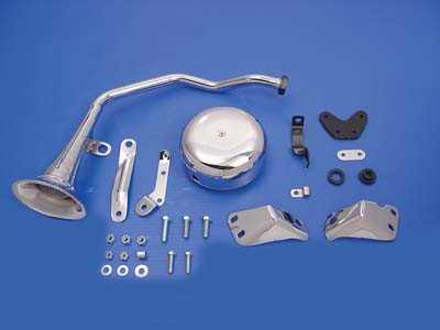 V-Twin 33-0698 - Trumpet Style 6 Volt Chrome Horn Kit