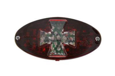 V-Twin 33-0749 - Oval Tail Lamp with Maltese Inset Red