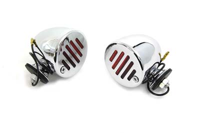 V-Twin 33-0753 - Chrome Shielded Bullet Marker Lamp Set with Red