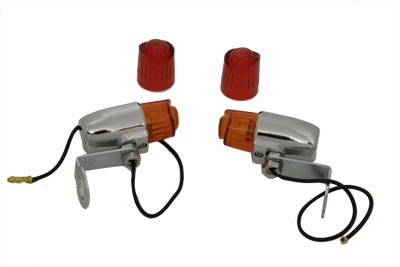 V-Twin 33-0761 - Chrome Pony Marker Lamp Set with Red and Amber