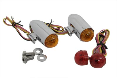 V-Twin 33-0762 - Bullet Marker Lamp Set with Red and Amber LEDs