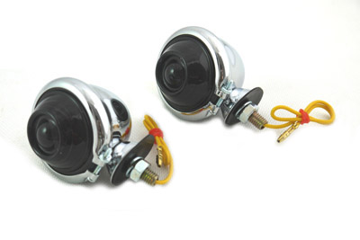 V-Twin 33-1126 - Chrome Turn Signal Set Bullet with Smoked Lens