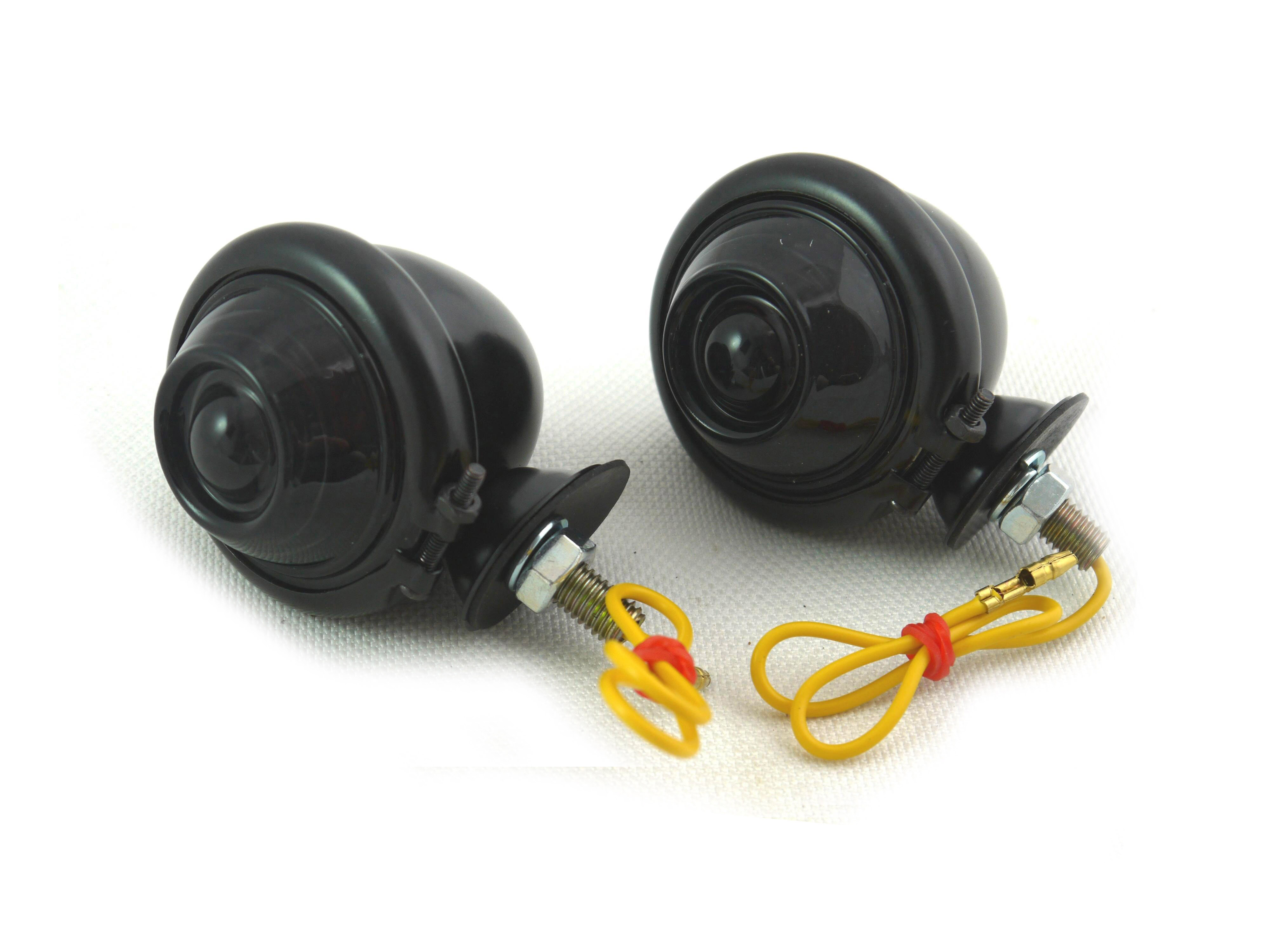 V-Twin 33-1127 - Black Turn Signal Set Bullet with Smoked Lens