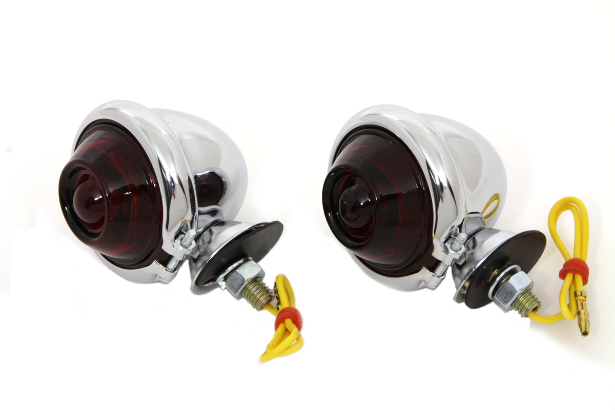V-Twin 33-1137 - Chorme Turn Signal Set Bullet with Red Lens