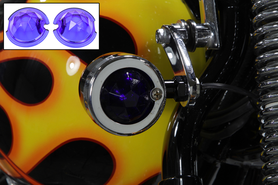 V-Twin 33-1140 - Blue Faceted Tail Lamp Lens Set