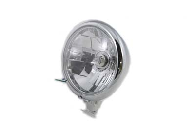 "V-Twin 33-1172 - 5-3/4"" Round Clear Faceted Headlamp Assembly"