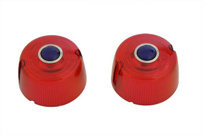 V-Twin 33-1236 - Turn Signal Lens Set Red with Blue Dot