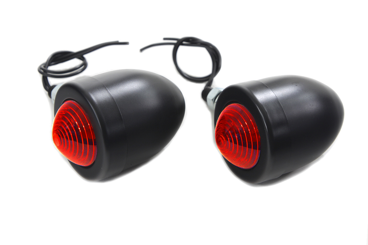 V-Twin 33-1410 - Black Bullet Marker Lamp Set with Red Lens