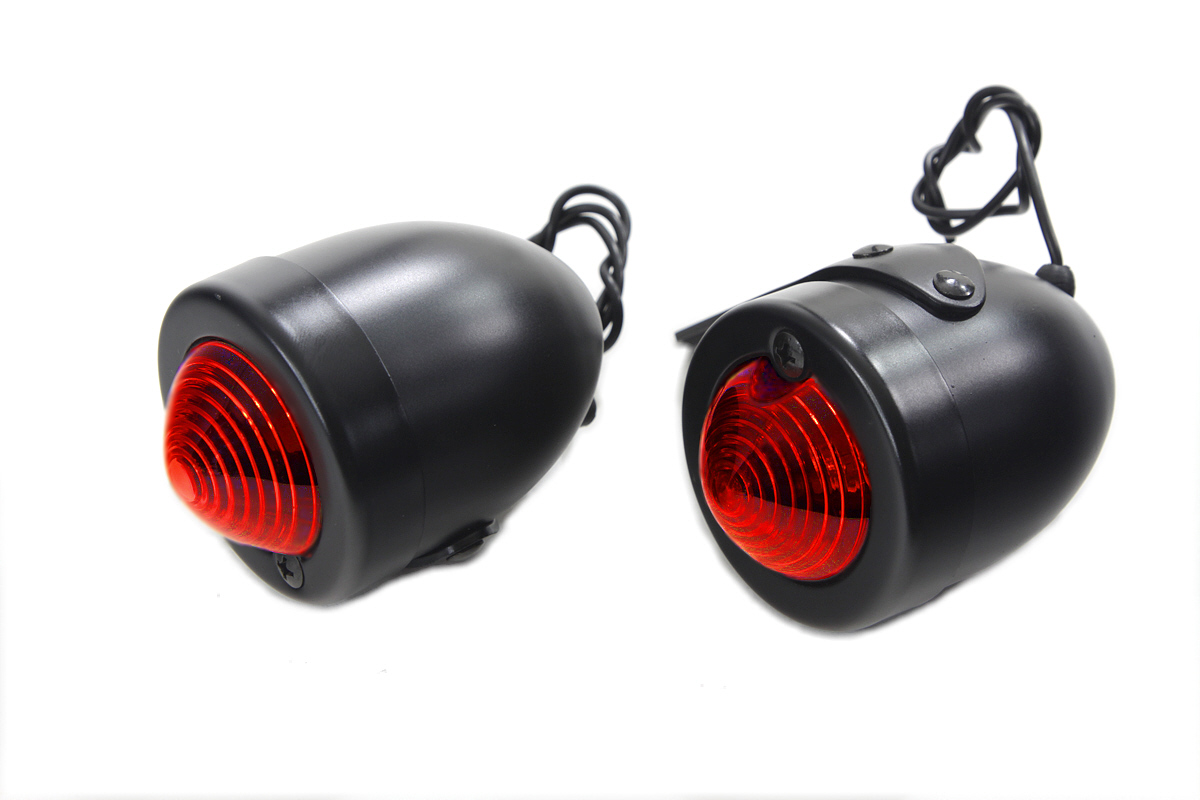 V-Twin 33-1412 - Black Replica Red Bullet Marker Lamp Set