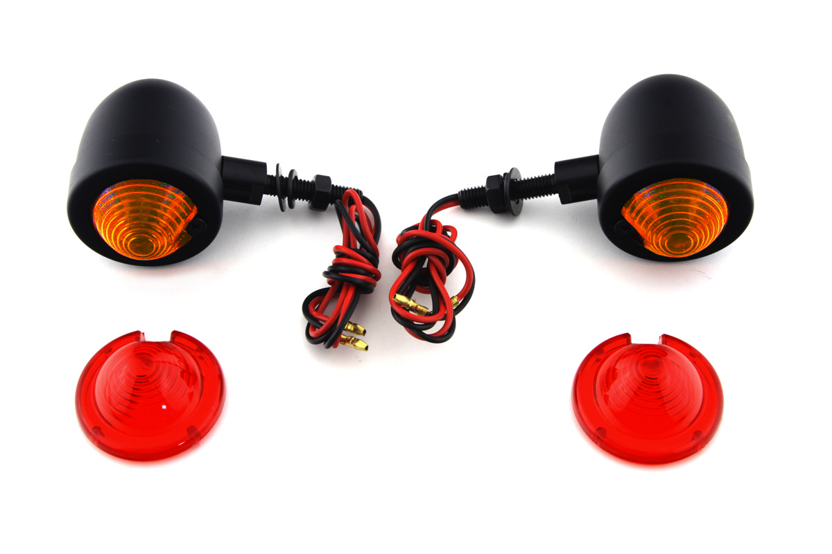V-Twin 33-1413 - Black Egg Style Marker Lamp Set