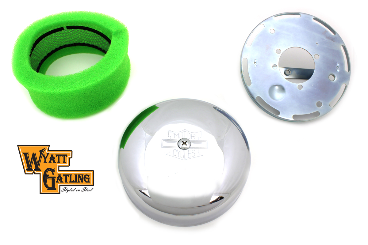"7"" ROUND AIR CLEANER KIT, CHROME VTWIN 34-0041"