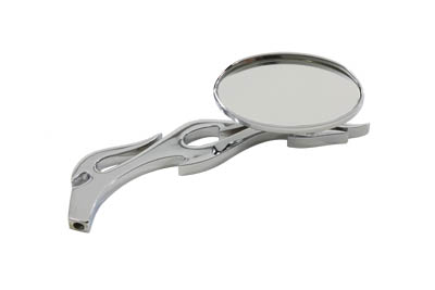V-Twin 34-0122 - Oval Mirror with Billet Flame Stem Chrome