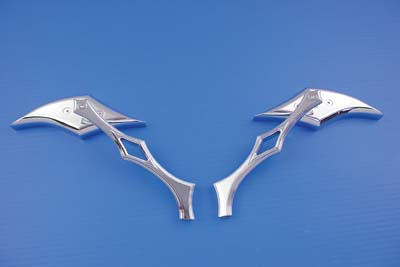 V-Twin 34-0125 - Diamond Mirror Set with Billet Diamond Stems C
