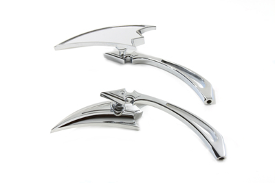 V-Twin 34-0154 - Crescent Mirror Set with Billet Spear Stems Ch