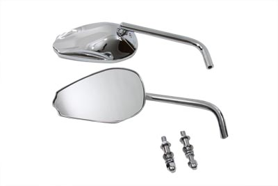 V-Twin 34-0164 - Teardrop Mirror Set with Round Stems Chrome