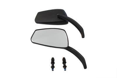 V-Twin 34-0167 - Rectangle Mirror Set with Billet Stems Black