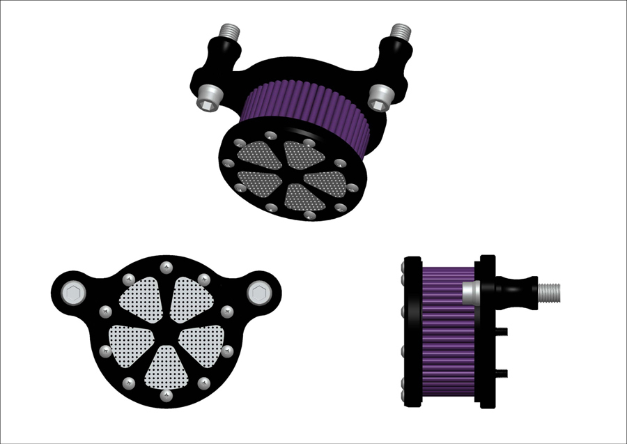 V-Twin 34-0242 - Spoke Style Air Cleaner Kit Chrome