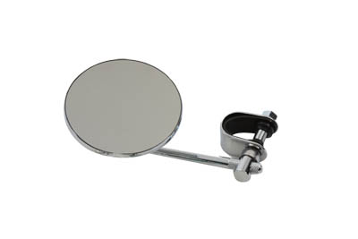 "V-Twin 34-0306 - 4"" Round Mirror with Clamp On Stem Chrome"