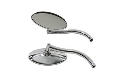 V-Twin 34-0331 - Oval Mirror Set Chrome with Contour Round Stems