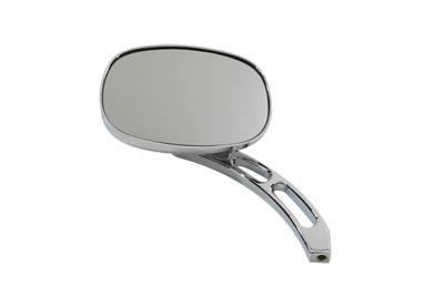 V-Twin 34-0348 - Oval Vision Deep Dish Mirror with Billet Stem